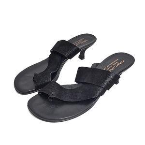 Donald J. Pliner Black Soft Textured Leather Heels
